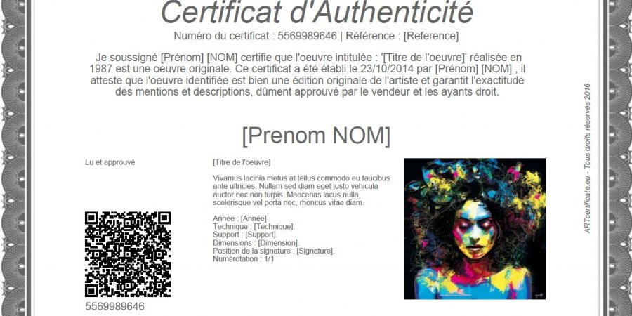 Model Certificate of Authenticity